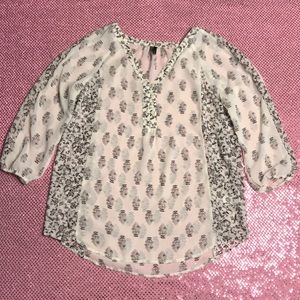 Maurices White Black Floral Button Blouse Top